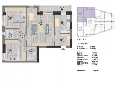 Apartament 3 camere NearCenter Residence Agricultori
